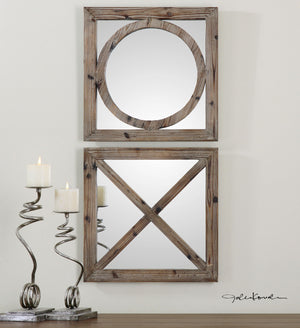 Baci E Abbracci, Wooden Mirrors Set of Two Rustic Mirrors Uttermost