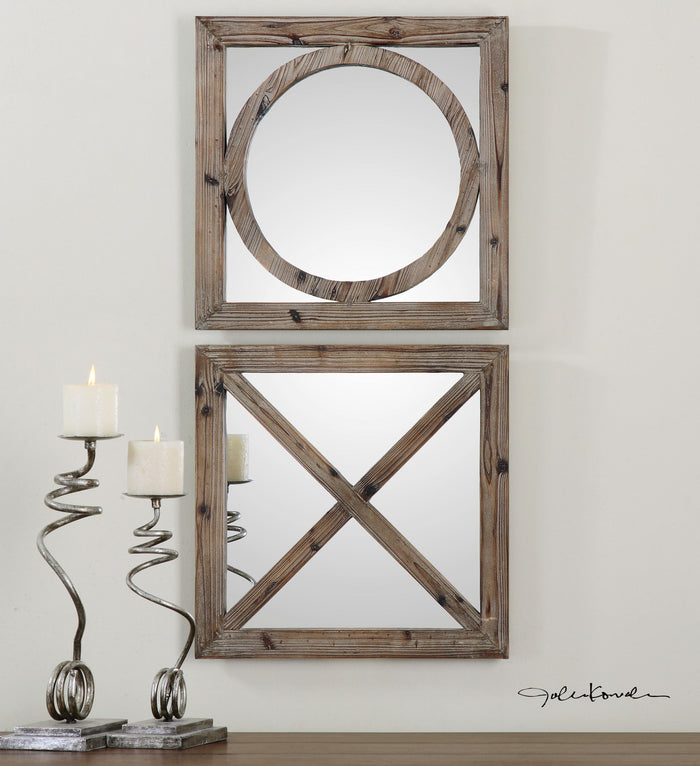 Baci E Abbracci, Wooden Mirrors Set of Two