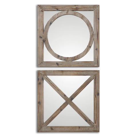 Baci E Abbracci, Wooden Mirrors Set of Two - Classy Mirrors