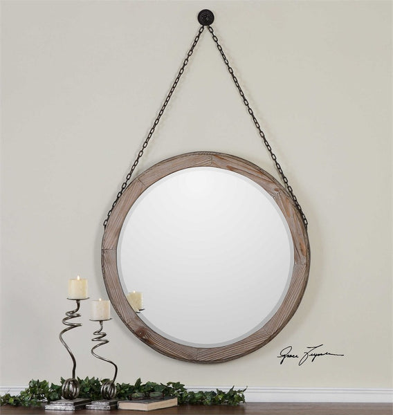 "Loughlin Round Wood Mirror 34""x34""x2"" - Classy Mirrors"