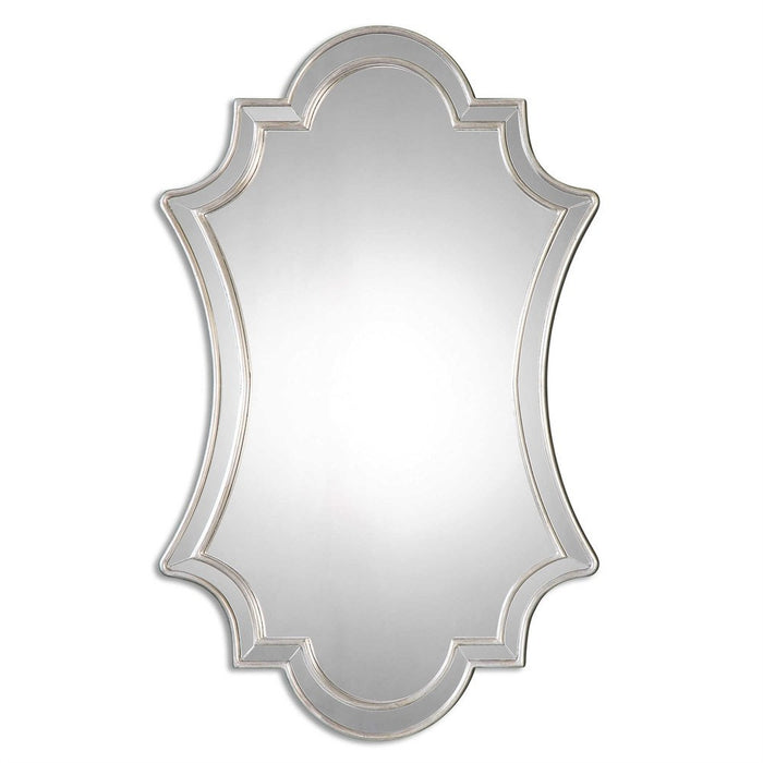 Zalra Antiqued Silver Shaped Mirror