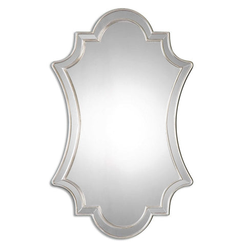 Zalra Antiqued Silver Shaped Mirror Frameless Mirrors Uttermost