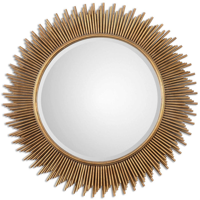 "Palermo Antique Gold Round Mirror 36""x36""x1"""