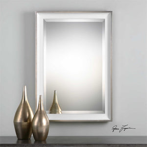 Lahvahn White Silver Mirror Bathroom Mirrors Uttermost