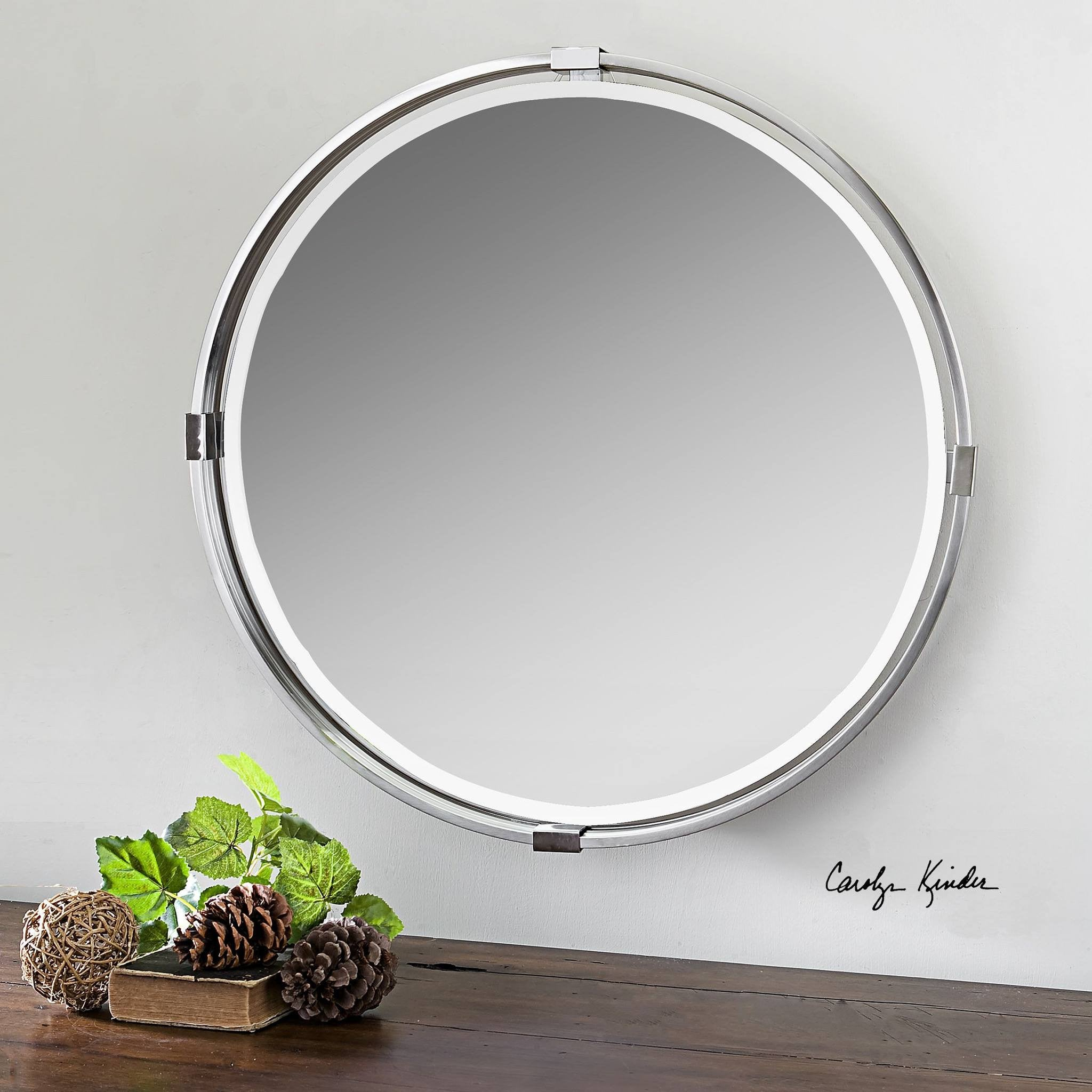 tazlina brushed nickel round mirror 30 x30 x2 classy mirrors. Black Bedroom Furniture Sets. Home Design Ideas