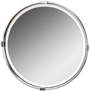 "Tazlina Brushed Nickel Round Mirror 30""x30""x2"" Uttermost"