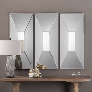 "Vilaine Modern Geometric Mirror 20""x45""x3"" Decorative Mirrors Uttermost"