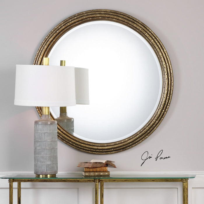 "Spera Round Gold Mirror 42""x42""x2"""