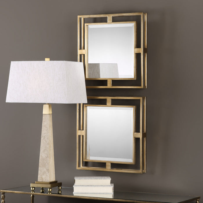 "Allick Squares, Set of Two Mirrors 18""x18""x3"""