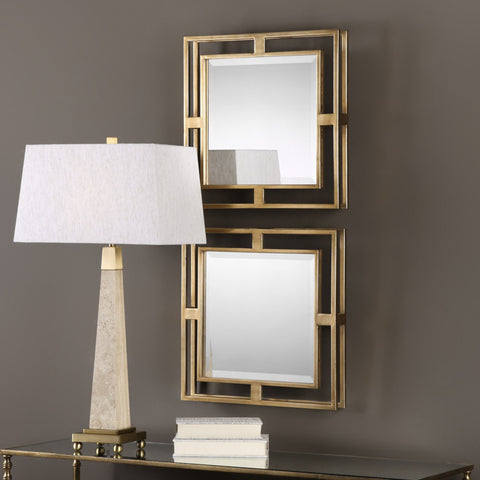 "Allick Squares, Set of Two Mirrors 18""x18""x3"" - Classy Mirrors"