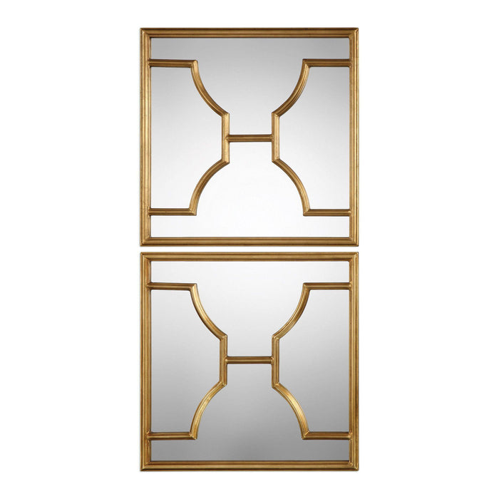 "Misa Gold Square Mirrors Set of Two 24""x24""x1"""