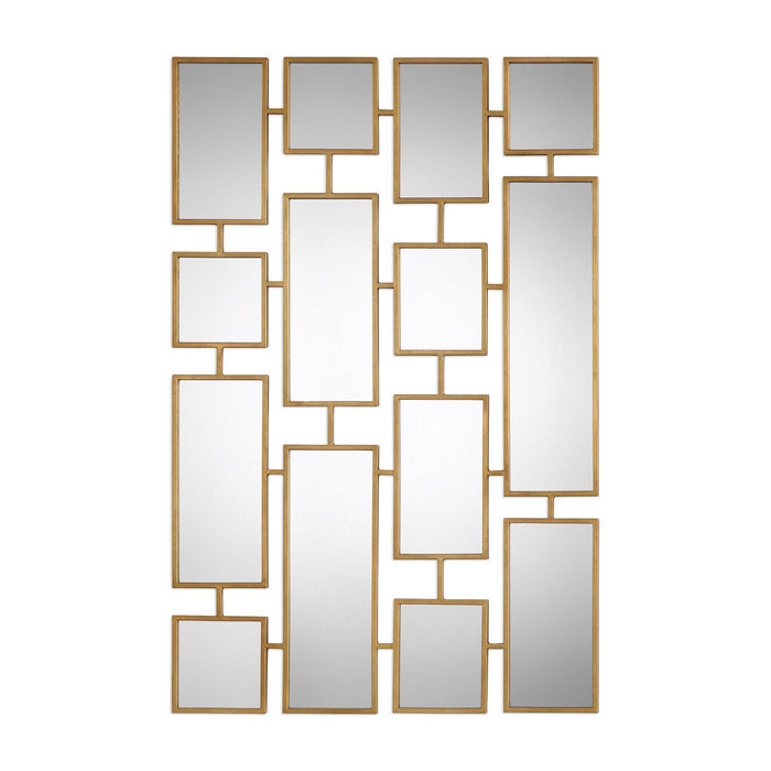 "Kennon Forged Gold Rectangles Mirror 32""x48""x1"""