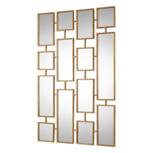 "Kennon Forged Gold Rectangles Mirror 32""x48""x1"" Decorative Mirrors Uttermost"