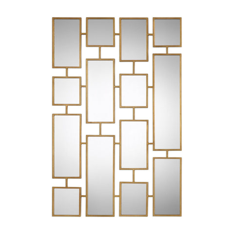 "Kennon Forged Gold Rectangles Mirror 32""x48""x1"" - Classy Mirrors"