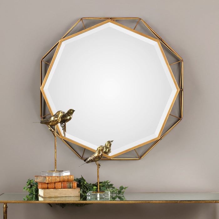 "Mekhi Antiqued Gold Mirror 30""x30""x4"""