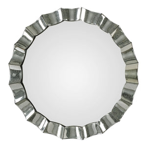 "Sabino Scalloped Round Mirror 39""x39""x2"" Contemporary Mirrors Uttermost"