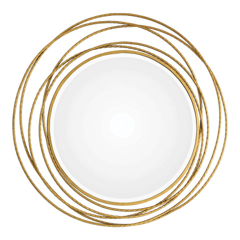 Whirlwind Gold Round Mirror Decorative Mirrors Uttermost
