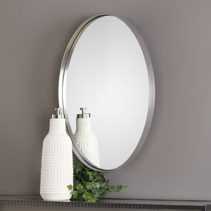 Pursley Brushed Nickel Oval Mirror Oval Mirrors Uttermost