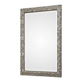 "Evelina Silver Leaves Mirror 25""x35""x1"" - Classy Mirrors"