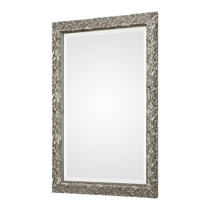 "Evelina Silver Leaves Mirror 25""x35""x1"""