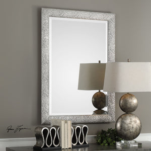 Mossley Metallic Silver Mirror Transitional Wall Mirrors Uttermost