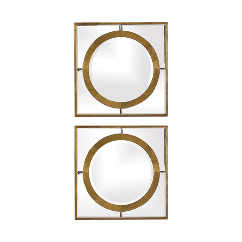 Gaza Gold Square Mirrors Set of Two Contemporary Mirrors Uttermost