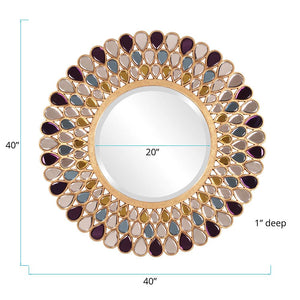 Grace Jeweled Round Mirror Decorative Mirrors Howard Elliott