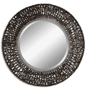 "Lita Black Woven Metal Mirror 36""x36""x4"" Contemporary Mirrors Uttermost"