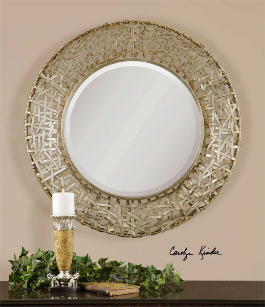 "Champagne Woven Metal Straps Mirror 32""x32""x3"" - Classy Mirrors"