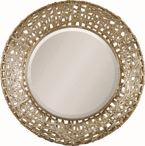 "Champagne Woven Metal Straps Mirror 32""x32""x3"" Bathroom Mirrors Uttermost"