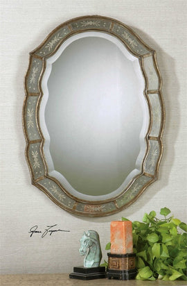 "Fifi Etched Antique Gold Mirror 25""x35""x1"" - Classy Mirrors"