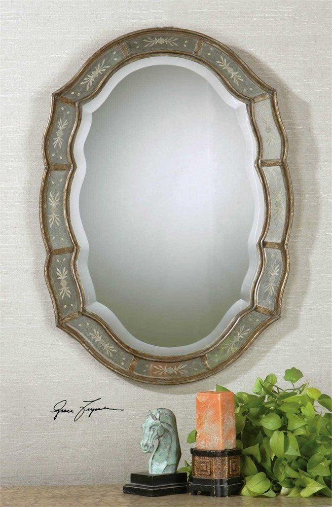 "Fifi Etched Antique Gold Mirror 25""x35""x1"""