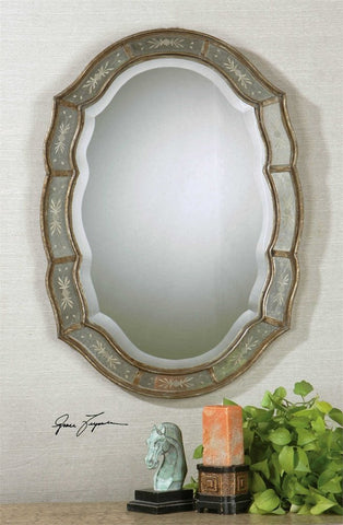 "Fifi Etched Antique Gold Mirror 25""x35""x1"" Antique Mirrors Uttermost"