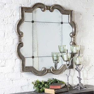 "Prisca Distressed Silver Mirror 65""x65""x2"" Antique Mirrors Uttermost"