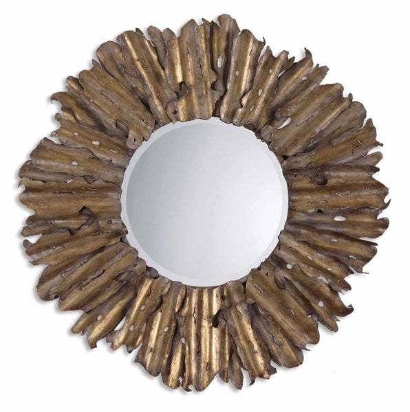 "Emani Hand Forged Antique Gold Mirror 43""x43""x3"" - Classy Mirrors"
