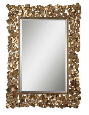 "Cardiff Ornate Gold Metal Mirror 38""x54""x1"" Decorative Mirrors Uttermost"