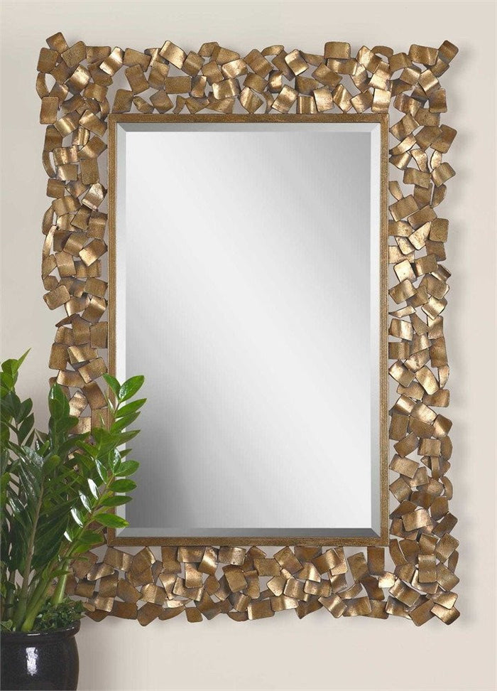 "Cardiff Ornate Gold Metal Mirror 38""x54""x1"""