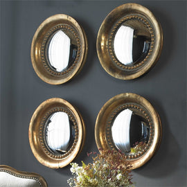 "Tropea Round Convex Mirror Set of Two 17""x17""x2"" - Classy Mirrors"