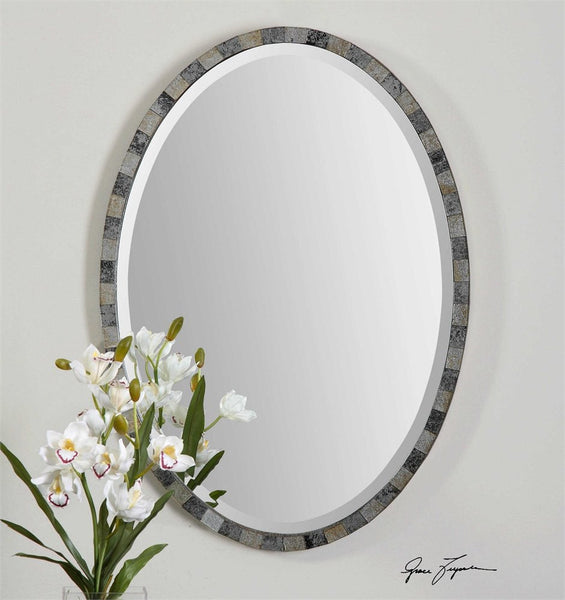 "Paredes Oval Mirror 21""x29""x1"" - Classy Mirrors"
