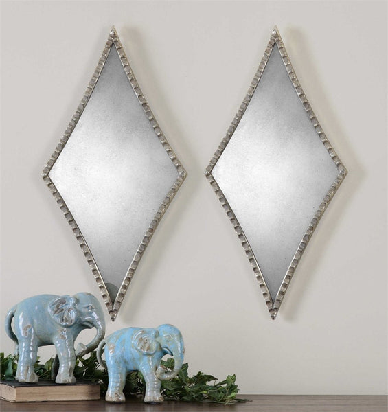 "Gelston Antiqued Decorative Mirror Set of Two 14""x27""x1"" - Classy Mirrors"