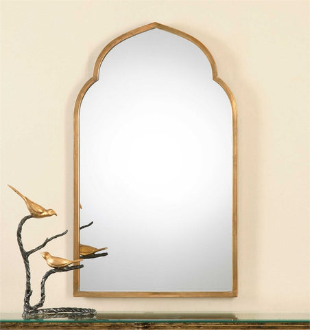 "Kenitra Forged Metal Arch Mirror in Gold 24""x40""x1"" - Classy Mirrors"