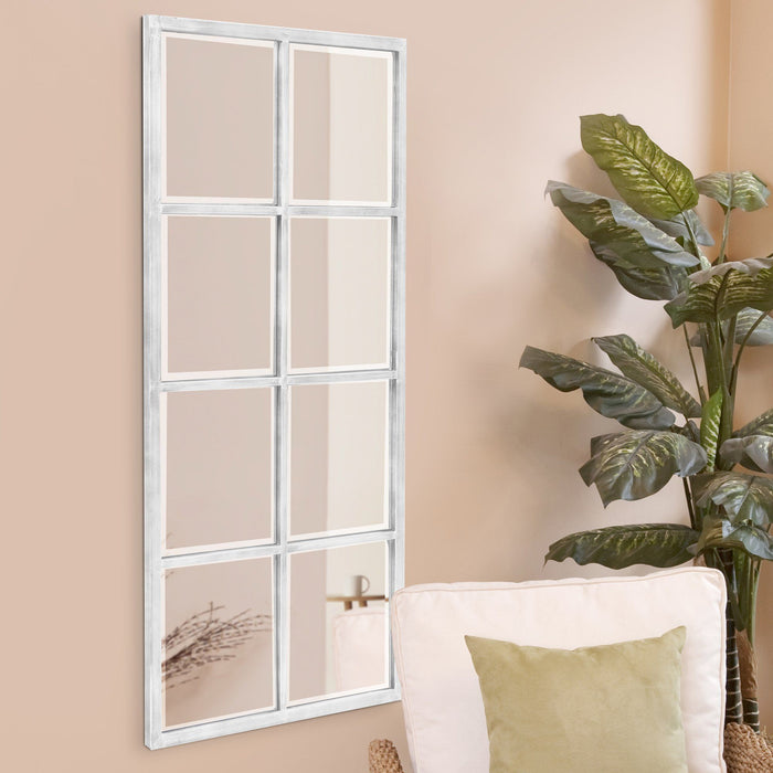 Atrium White Washed Windowpane Mirror