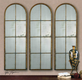 "Amiel Arched Brown Mirror 17""x50""x1"" - Classy Mirrors"