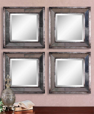 "Avion Square Silver Mirrors Set of two 18"" x18""x3"" Decorative Mirrors Uttermost"