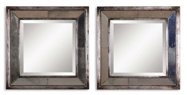 "Avion Square Silver Mirrors Set of two 18"" x18""x3"" - Classy Mirrors"