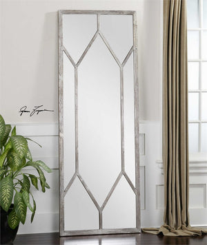Saunders Distressed Silver Leaf Mirror Large Mirrors and Leaner Mirrors Uttermost