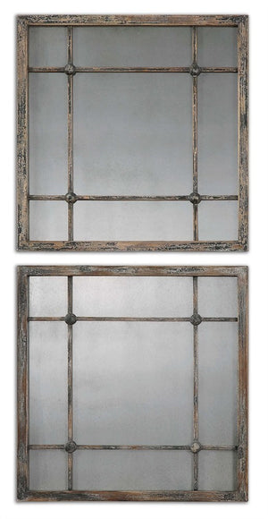 Saragano Squares Mirrors, Set of Two Decorative Mirrors Uttermost