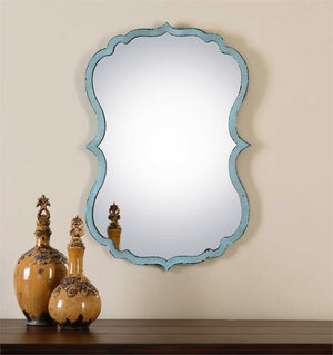 Salerno Light Blue Mirror Transitional Wall Mirrors Uttermost