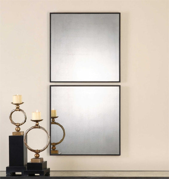 "Matty Squares Mirror 24""x24""x1"" Set of 2 - Classy Mirrors"