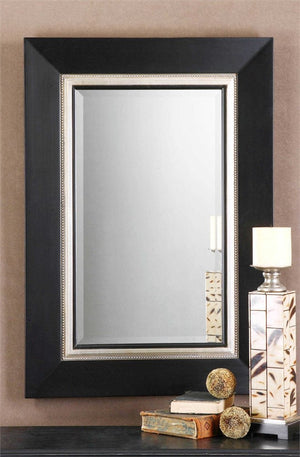 Whittington Matte Black Vanity Mirror Bathroom Mirrors Uttermost